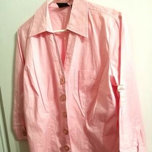 Stretch Pink Fitted Shirt Big Buttons J14-E